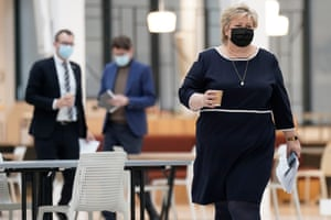 Norwegian Prime Minister Erna Solberg at The National Criminal Investigation Service, commonly known as Kripos, where she will present changes to the Electronic Communications Act, which will be important in the fight against online child abuse, in Oslo, Norway, on 9 April 2021.