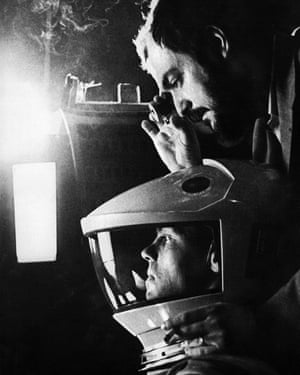 Kubrick, top, on the set of 2001: A Space Odyssey.