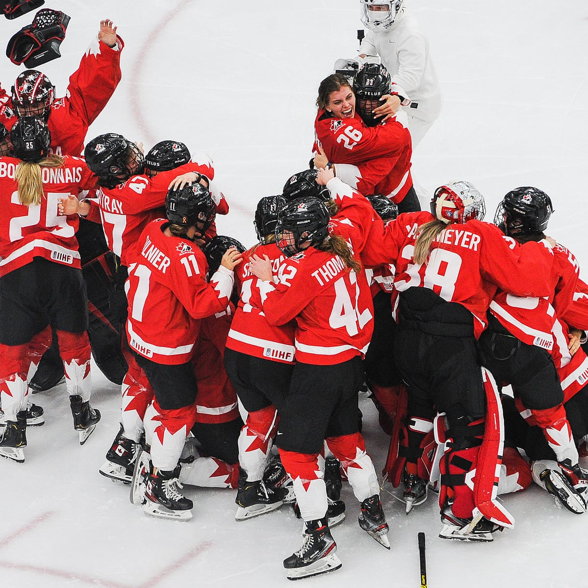 Canada upset USA in OT thriller to become women's ice hockey world  champions | Ice hockey | The Guardian