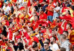 North Macedonia fans celebrate.