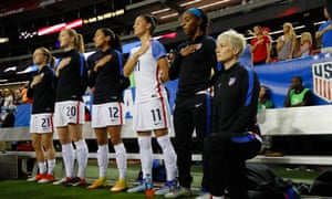 Megan Rapinoe in 2016, kneeling during the national anthem in protest.