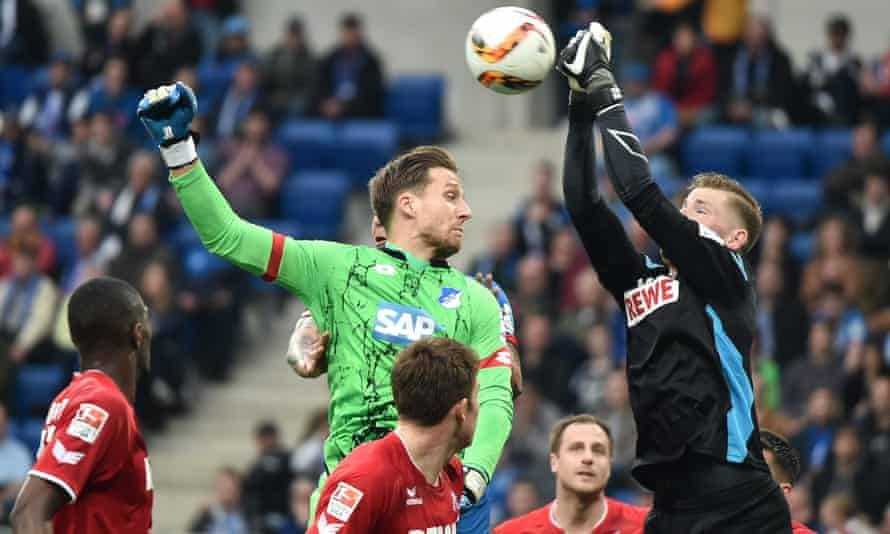 Goalkeepers Timo Horn and Oliver Baumann do battle in a late Hoffenheim assault that ended in controversy.