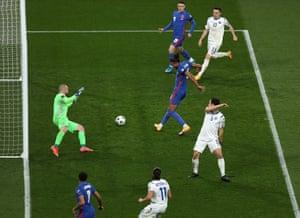 Dominic Calvert-Lewin of England scores their team's fourth goal.