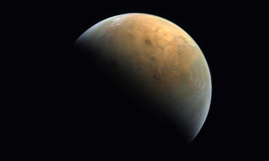 The first photograph of Mars taken by the Emirates Mars mission's Hope spacecraft.