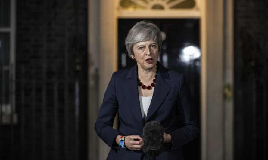 Theresa May making a statement to the press after the crucial cabinet meeting on Brexit last week.