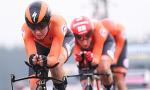 Amy Pieters (left) leads the 'orange train' that will catch the eye again on the roads of Yorkshire in Saturday's world road race.