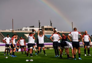 Sapporo, Japan: England players lift weights under a rainbow during a training session before the Rugby World Cup