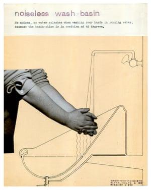 Alvar Aalto's design for noiseless washbasins, 1932.