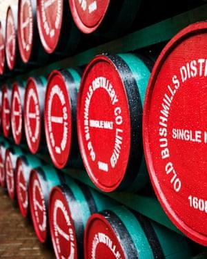 single malt whiskey barrels of old bushmills distillery northern ireland