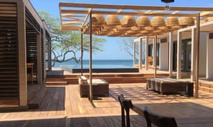 Terrace with sea view at 99 Surf Lodge, Nicaragua.
