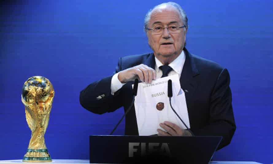 Former Fifa president Sepp Blatter announcing Russia as the host country of the 2018 World Cup