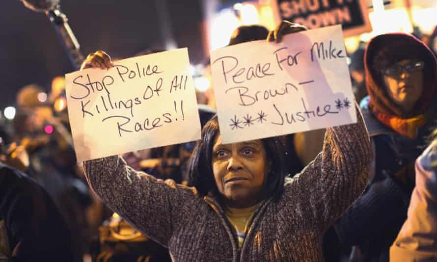 michael brown ferguson police demonstrator