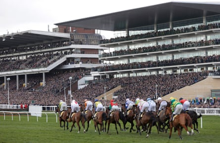 Thousands packed the stands to watch the racing at Cheltenham on 13 March 2020.