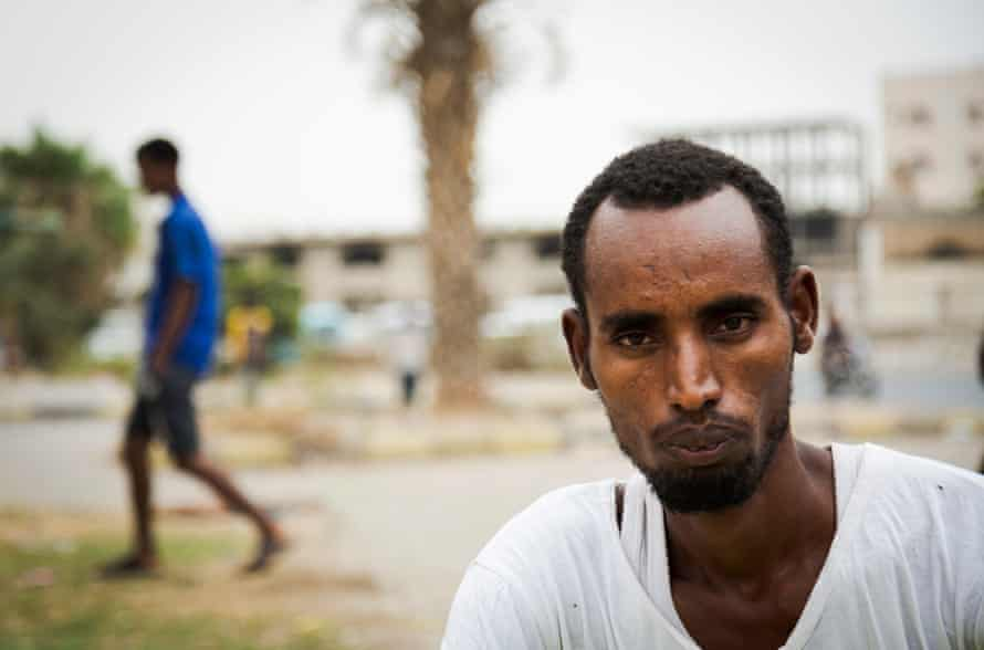 Mohammed from the Ethiopian Harari Region seen in a park frequent by African migrants, in the port city of Aden, on 26 September, 2019. It costs up to 15000 Ethiopian Birr for the trip and many don't know that Yemen is a country at war.