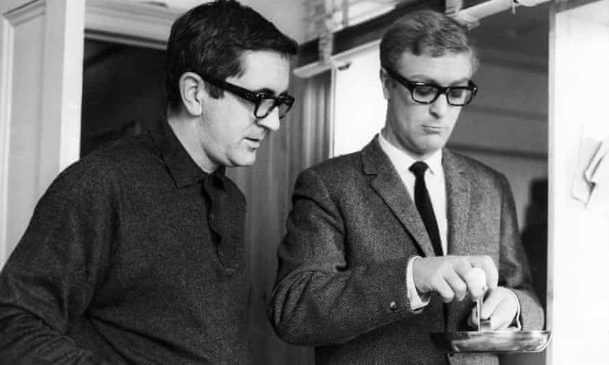 Len Deighton on the set of The Ipcress File with Michael Caine.