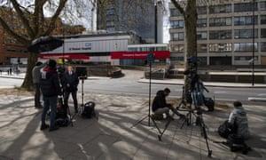 Media gather outside St Thomas' hospital on Monday.