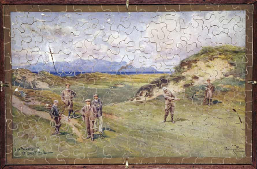 A piece of history: a handcut wooden puzzle of golfers on the course at Prestwick dates from about 1914.