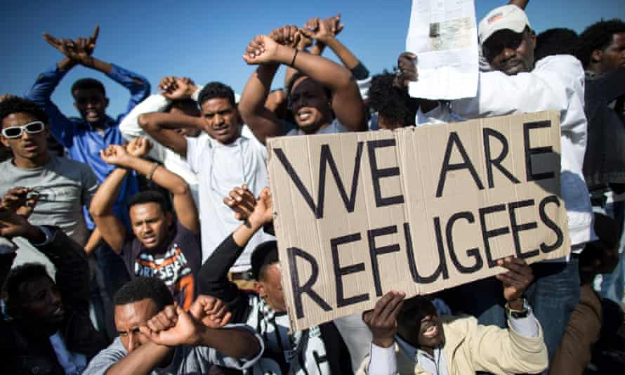 A protest by African migrants in Tel Aviv in 2014