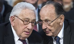 Hans-Dietrich Genscher with Henry Kissinger at a memorial service in Leipzig, Germany, 2015.