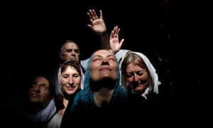Orthodox Christians at the Holy Fire ceremony, at the Church of the Holy Sepulchre in Jerusalem's Old City