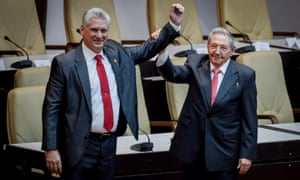 Cuban president Miguel Díaz-Canel, left, with his predecessor, Raúl Castro, at the National Assembly in Havana in April.