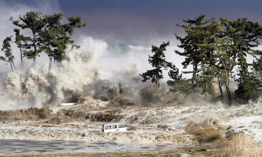 Tsunami waves hitting the coast of Minamisoma in Fukushima prefecture on March 11, 2011