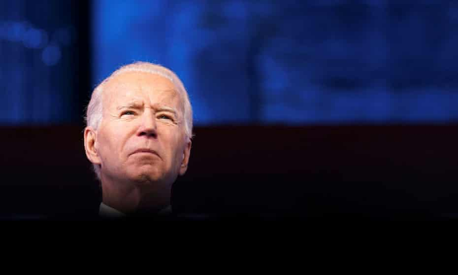 Joe Biden in Delaware last week. In a memo, his incoming chief of staff wrote: 'President-elect Biden is assuming the presidency in a moment of profound crisis for our nation.'