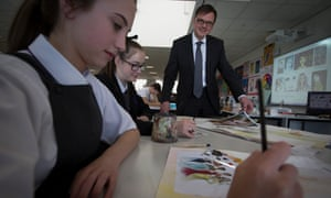 Pupils pictured during a year 10 art class at a secondary school in Merseyside.