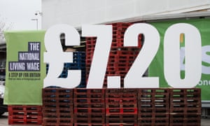 National living wage, £7.20 displayed on pallets in an Asda supermarket
