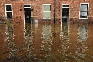 Partially submerged houses in Shrewsbury, Shropshire