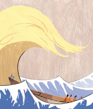Wave, Courtesy of A. Richard Allen 'Wave', which depicts a Hokusai-inspired tide bearing resemblance to the U.S. President's infamous haircut. A.Richard Allen Cover image for The Sunday Telegraph Money section, encapsulating the sense of uncertainty and anxiety in financial markets caused by Donald Trump's election victory. The image pastiches Hokusai's 'Wave'; instantly recognisable, it captures a moment of danger and uncertainty. A.Richard Allen is a multi award-winning artist and illustrator.