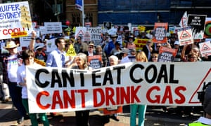 Anti coal seam gas mining rally outside parliament house in Sydney