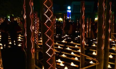 Illuminated Bamboo Lanterns For Mizuakari Festival