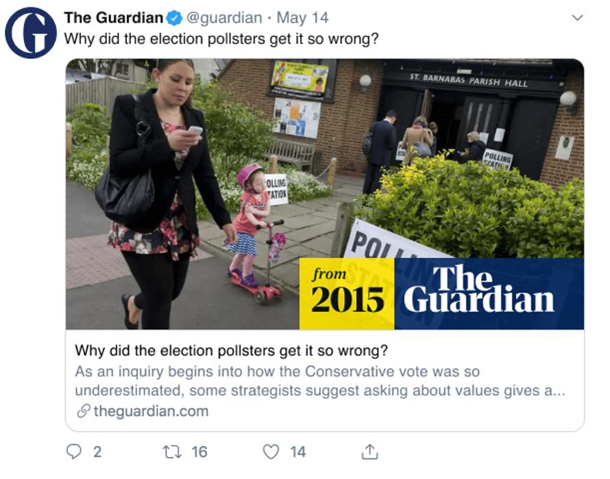 Screenshot of a Tweet sharing a Guardian article from 2015