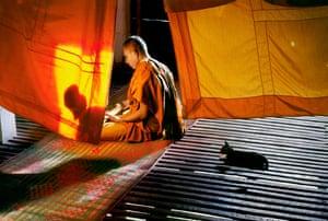 Monk and Cat. Aranyaprathet, Thailand, 1998