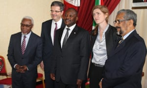 UN Security Council members visit Burundi in March 2015, with representatives from Angola, France, the US and UN secretary general's special envoy, with President Nkurunziza