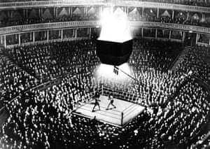 Len Harvey and Jack Petersen fight in front of a packed house at the Royal Albert Hall in November 1933,