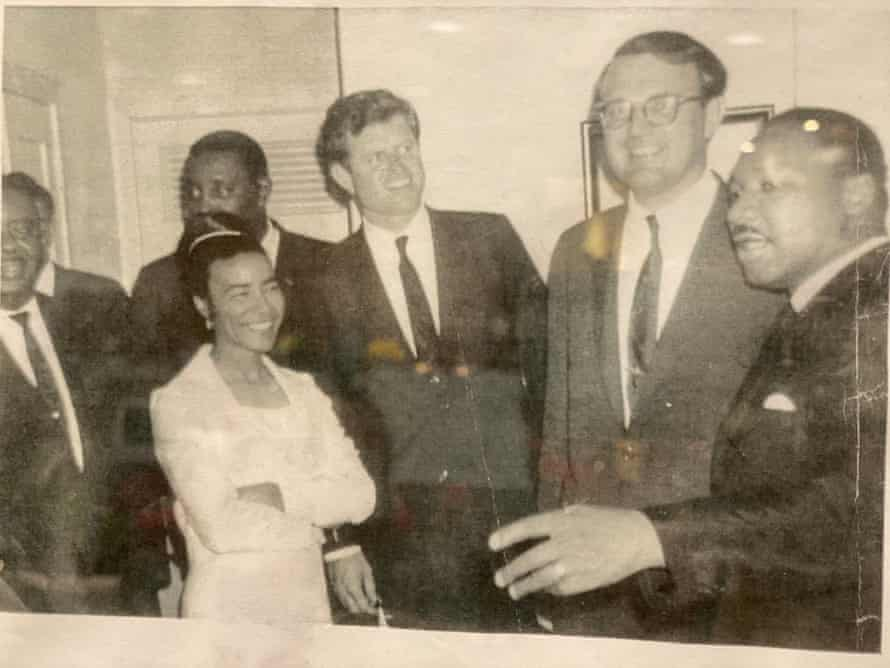 Clayton with Ted Kennedy (centre) and Martin Luther King Jr (right) in Jackson Mississippi, in 1966