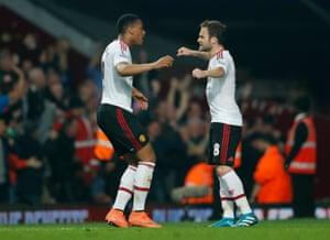 Juan Mata and Martial embrace after the equaliser.