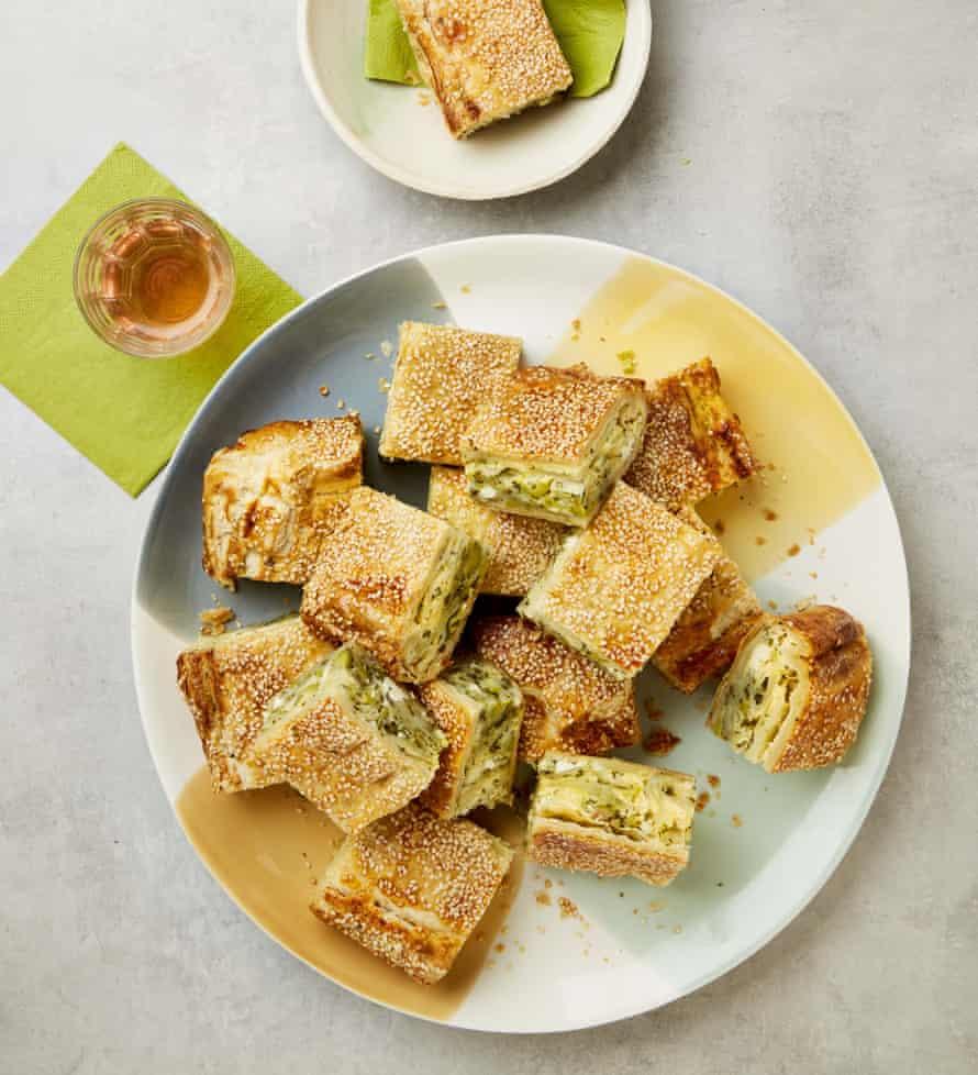 Yotam Ottolenghi's cheesy potato and herb slab pie.