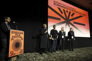 Director Emma Sullivan, editor Joe Beshenkovsky, and producers Mette Heide and Roslyn Walker speak on stage at the Q&A for the Netflix premiere of Into the Deep at Sundance Film Festival in January.