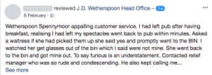 A customer claims on Facebook that her lost glasses were retrieved from the bin at Wetherspoons