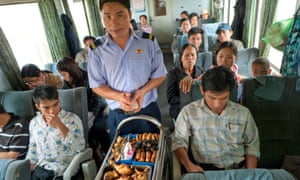 Food being sold in a train during a train journey from Hue to Danang
