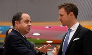 Polish European affairs minister Konrad Szymanski with Austrian EU minister Gernot Blumel (right) at the start of today's general affairs council meeting