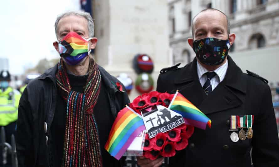 Royal Air Force veteran David Bonney (r) and human rights campaigner Peter Tatchell lay a rainbow wreath at the Cenotaph in Whitehall London after the Remembrance Sunday service last November.