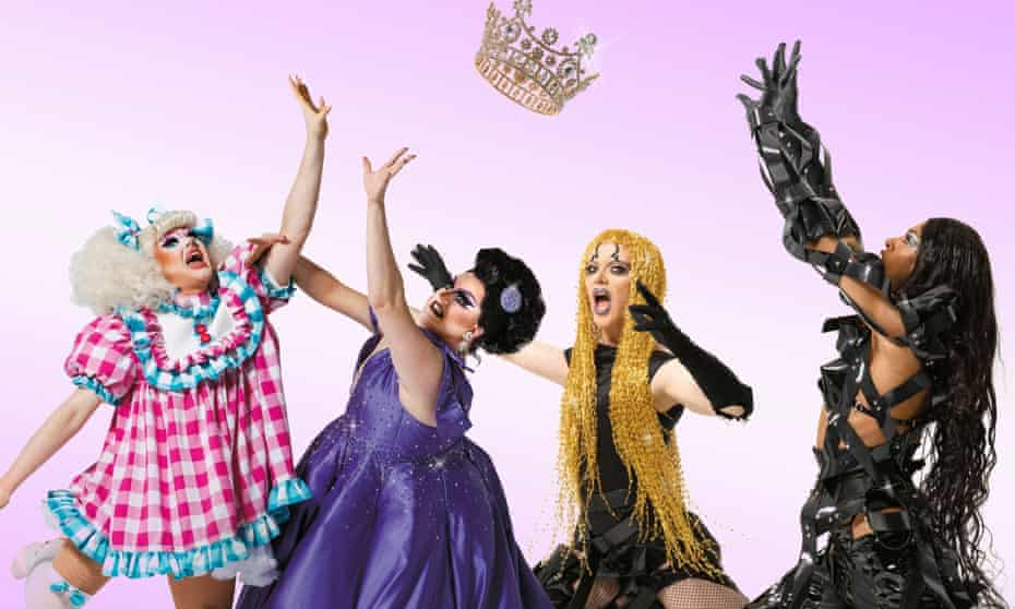 Who will take the Drag Race UK crown? From left: Ellie Diamond, Lawrence Chaney, Bimini Bon Boulash and Tayce