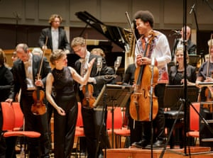 conductor Mirga Gražinytė-Tyla and cellist Sheku Kanneh-Mason with the CBSO at Symphony Hall, Birmingham.