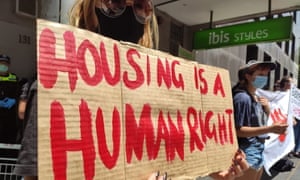 A protest in the Melbourne CBD at the Ibis Hotel. People were protesting the potential evictions of people housed during the pandemic.