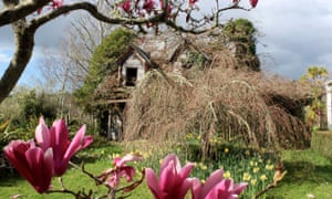 An 1870s house overtaken by wisteria in the garden of Bartlett and Gold Gallery, a pottery studio in Upper Moutere
