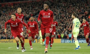 Divock Origi celebrates after scoring for Liverpool against Barcelona to take them to the Champions League final.